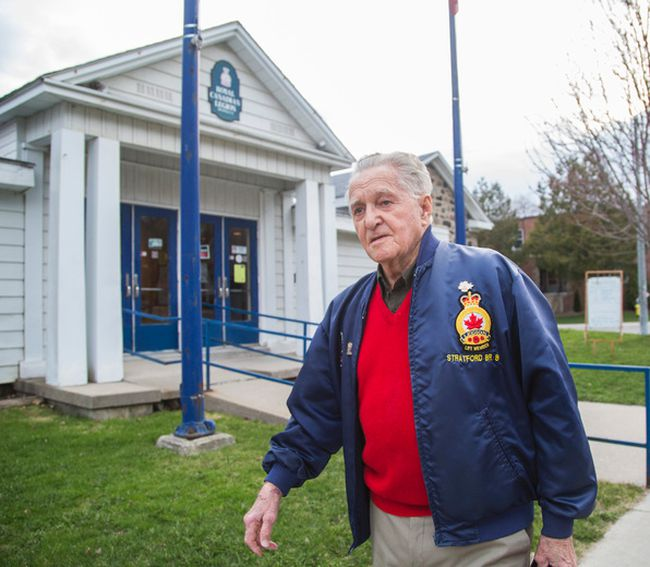 Second World War veteran Art Boon comes out of the Royal Canadian Legion Branch 8 in Stratford, Ont., on his way to a meeting at city hall on April 30, 2015. Art Boon's son - Avon Maitland District School Board history teacher Rick Boon - was refused time off to accompany his father to Holland to commemorate the 70th anniversary of the liberation of that country. (Ernest Doroszuk/Postmedia Network)
