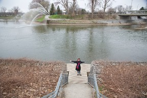 Martha Powell, president and chief executive of London Community Foundation, stands at the forks of the Thames River in London. The foundation is opening a competition to redesign portions of the river at the forks and South of Horton (SoHo) to maximize its attributes. Derek Ruttan / The London Free Press