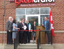 Janak Alford, founder and CEO of prototypeD, speaks to the crowd at the grand opening of The Excelerator, a business incubator and co-work centre in Smiths Falls. PrototypeD, a collaborative design studio, is one of The Excelerator's first four businesses to set up shop in the space at the Gallipeau Centre.