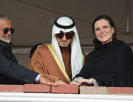 Mayor Melissa Blake, joined by Sheikh-Ahmad Al-Ali Al-Sabah of Kuwait and representatives from Fort McMurray's Islamic community participate in a brick laying ceremony for an Islamic community centre in Fort McMurray's Abraham's Land on Saturday. VINCENT MCDERMOTT/TODAY STAFF