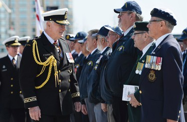 Gov. Gen. David Johnston inspects Veterans and Canadian Servicemen during the National Battle of the Atlantic parade and ceremony at the National War Memorial in Ottawa on Sunday, May 3, 2015. Matthew Usherwood/Ottawa Sun/Postmedia Networks