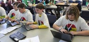 St. Joe's students, from left to right, Obi Siebert, Jakob Boughen, Dean Middleton and Aleksandra Masowa participated in the HPCDSB learning summit at St. Anne's last Tuesday. (Laura Broadley Clinton News Record)