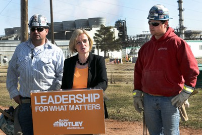 """April 10, 2015: NDP Leader Rachel Notley says an NDP government would strike a Resource Owner's Rights Commission that would propose recommendations for a new provincial royalty structure to """"reward value-added processing. (Perry Mah/Edmonton Sun)"""