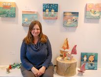 Local artist Andrea Zimmer's art exhibit brings visions of summer to come as May's artist of the month at the Victoria Park Art Gallery. Above: Zimmer with paintings and sculptures currently on display in her exhibit. (LISA UMHOLTZ/KINCARDINE NEWS)