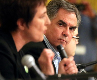 """April 18, 2015: Prentice reiterates -- He won't hike taxes on corporate profits, at least for now. """"This is not the time to do this. This is not the time to be dissuading  people from making investments and creating jobs in our province,"""" says  Prentice. Photo: Alberta Premier Jim Prentice listens to other  candidates speak at a debate at the Symons Valley United Church in NW  Calgary, Alta. on Saturday April 18, 2015. (Stuart Dryden/Calgary Sun)"""