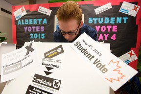 Grade 10 student Mitchell Dixon, 15, casts his vote during a mock provincial election at Holy Trinity High School, 7007 - 28 Avenue, in Edmonton, Alta. on Monday May 4, 2015. David Bloom/Edmonton Sun