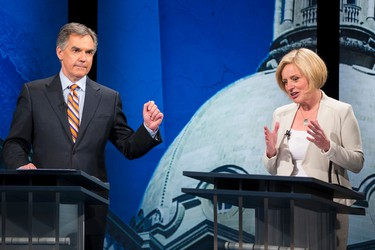"""April 24, 2015:Prentice takes fire the day after the leaders debate for a """"math is hard"""" quip as Albertans say the target of the quip, Notley, won the debate. Photo: Progressive Conservative leader Jim Prentice (left) and Alberta NDP leader Rachel Notley debate during the Election 2015 Leaders' Debate at Global Edmonton in Edmonton, Alta., on Thursday, April 23, 2015. Ian Kucerak/Edmonton Sun"""