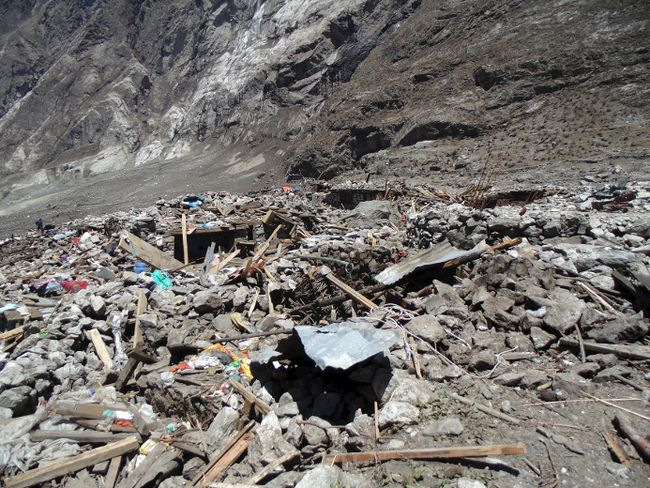A general view of the aftermath of a massive avalanche triggered by last week's earthquake in Langtang village, Nepal, in this May 2, 2015 police handout photo. About 100 bodies were recovered on Saturday and Sunday at Langtang village, 60 km (37 miles) north of Kathmandu, which is on a trekking route popular with Westerners. REUTERS/Handout via Reuters