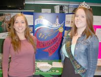 The Kincardine, Tiverton and Ripley Fall Fair Ambassadors visited Kincardine District Secondary School to answer questions and share information on the ambassador program with students on April 29, 2015. Above: Kincardine Ambassador Sadie Shewfelt, right with Gr. 12 student Savannah O'Donnell, who signed up to take part in the 2015 Kincardine ambassador program. (LISA UMHOLTZ/KINCARDINE NEWS)