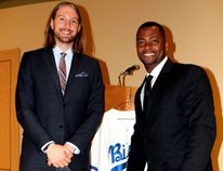 Brendan Lafferty of the Winnipeg Goldeyes and major leaguer Homer Bush were guest speakers at a minor baseball spring banquet in Altona on April 16. (ANDREW PRUDEN/Morden Times)