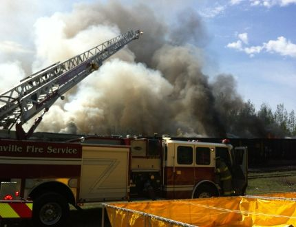 Rail ties were blamed for a fire that started on a train near Kemptville this week.