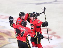 Mikael Backlund plays hero as he scores in overtime to give the Flames a 4-3 win over the Anaheim Ducks in Game 3 of the Western Conference semifinal.The Ducks lead the series 2-1. Photo by Darren Makowichuk/Calgary Sun