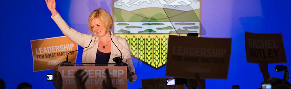 Premier-elect Rachel Notley gives her victory speech