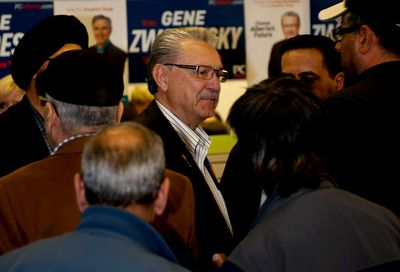 PC member for Edmonton-Mill Creek Gene Zwozdesky talks to his supporters after losing his seat on Election night on Tuesday, May 5, 2014, Edmonton, Alta. Terry McLachlan/Edmonton Sun/Postmedia Network