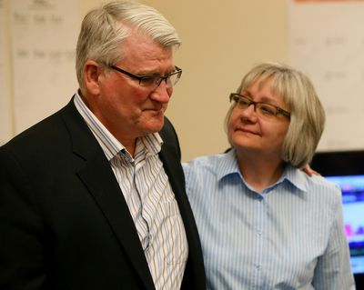 PC member for Edmonton-Gold-Bar David Dorward and his wife Janice as seen dejected as Dorward gave his concession speech as results were still coming in on Election night on Tuesday, May 5, 2014, Edmonton, Alta. Tom Braid/Edmonton Sun/Postmedia Network.