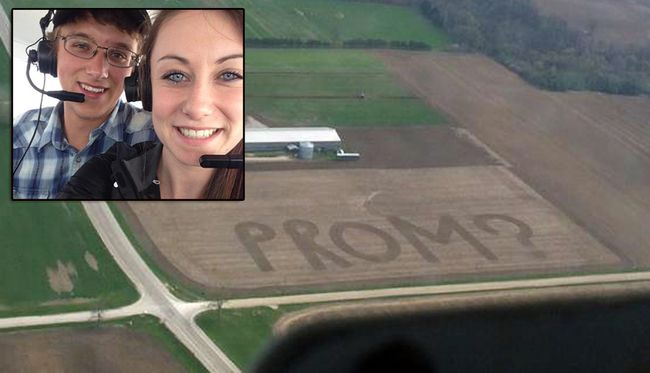 The 'prom-posal' cultivated into the field on the Vankerrebroeck farm south of Norwich on Highway 59 at Maple Dell Road was Andrew McPherson's creative way to ask Nicole Dykstra (inset) to the June 6 prom at College Avenue Secondary School in Woodstock.