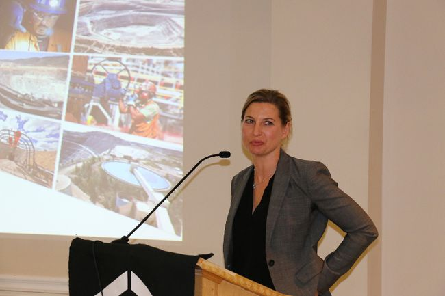 Sophie Bergeron, a mining engineer and underground manager at Goldcorp's Hoyle Pond mine, spoke on the need to get more women involved in mining at a Timmins Chamber of Commerce luncheon on Thursday. Bergeron spoke at the regular Women in Business event on such topics as navigating your career path and creating choices.