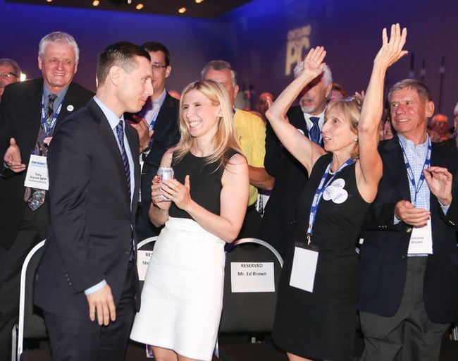 Patrick Brown is the new leader of Ontario's Progressive Conservative party after defeating Christine Elliott, in Toronto on Saturday May 9, 2015.  His family (R) sits next to him and cheers as he wins. Veronica Henri/Toronto Sun/Postmedia Network