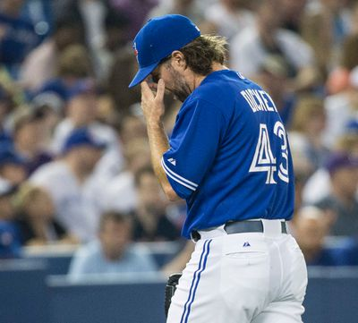 Toronto Blue Jay's  starting pitcher R.A. Dickey took the loss against the Boston Red Sox  in Toronto, Ont. on Sunday May 10, 2015. Craig Robertson/Toronto Sun/Postmedia Network