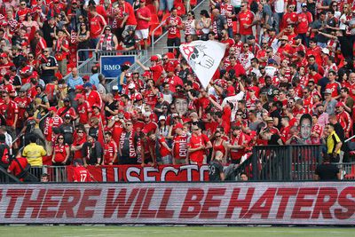 Toronto fans get warmed up in the south grandstand as Toronto FC host Houston Dynamo at the refurbished BMO Field  during MLS action in Toronto, Ont. on Sunday May 10, 2015. Michael Peake/Toronto Sun