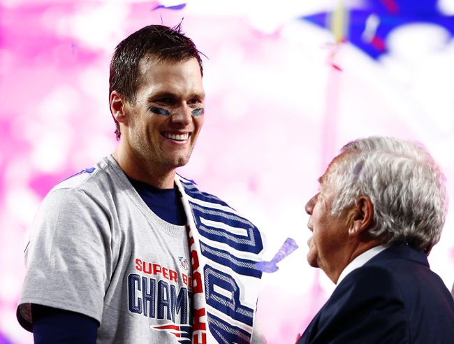 New England Patriots quarterback Tom Brady (left) celebrates with owner Robert Kraft (right) after defeating the Seattle Seahawks in Super Bowl XLIX at University of Phoenix Stadium. (Mark J. Rebilas-USA TODAY Sports)