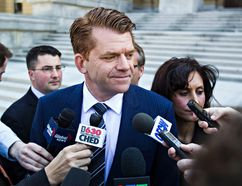 Wildrose leader Brian Jean speaks to reporters after Wildrose's first caucus meeting at the Alberta Legislature Building in Edmonton, Alta. on Monday, May 11, 2015. The Wildrose was elected as the Official Opposition in the Alberta provincial election last week. Codie McLachlan/Edmonton Sun