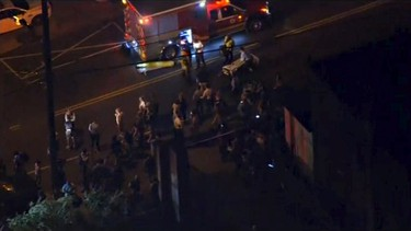 Aerial footage of first responders and ambulance at the scene of a train derailment in Philadephia, Pennslylania May 12, 2015 in this still image taken from footage by nbcphiladelphia.com.    REUTERS/NBC10 via Reuters TV