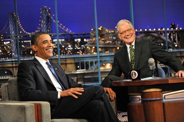 President of the United States Barack Obama talks to Dave when he visits the Late Show with David Letterman, Monday Sept. 21, 2009 (CBS Broadcasting Inc.)