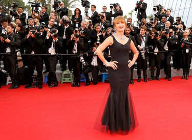 """Actress Jane Seymour poses on the red carpet as she arrives for the screening of the film """"Mad Max: Fury Road"""" out of competition at the 68th Cannes Film Festival in Cannes, southern France, May 14, 2015.  REUTERS/Regis Duvignau"""