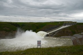 Water isn't rushing like it once was during the flooding of June 2014, but now the MD has tapped into the Oldman River Reservoir with an emergency pump and pipeline that will help relieve the water conservation order that Lundbreck and Cowley have been under since the beginning of July. | John Stoesser photo/Pincher Creek Echo.