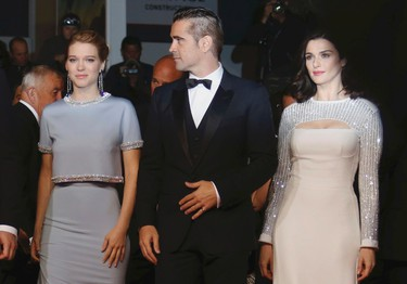 """Cast members Colin Farrell (C), Lea Seydoux (L) and Rachel Weisz pose on the red carpet as they arrive for the screening of the film """"The Lobster"""" in competition during the 68th Cannes Film Festival in Cannes, southern France, May 15, 2015.     REUTERS/Regis Duvignau"""
