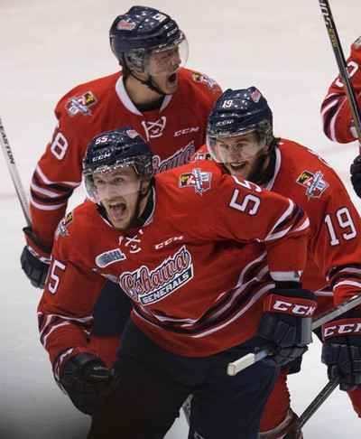 Oshawa Generals Michael McCarron celebrates his goal against the Erie Otters in Oshawa on Friday May 15, 2015. Craig Robertson/Toronto Sun/Postmedia Network
