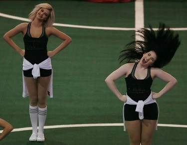 Members of the Edmonton Crush dance team perform before the start of their play-off game between the Edmonton RUSH an the Calgary Roughnecks on Friday May 15, 2015, in Edmonton Alta. Tom Braid/Edmonton Sun/Postmedia Network.
