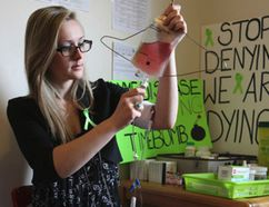 """Paige Spencer in her old bedroom that she now calls her """"drug room """" on May 13, 2015. She suffers from Lyme disease. (Veronica Henri/Toronto Sun)"""