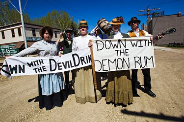 Prohibitionists march down 1905 Street during Fort Edmonton Park's opening weekend in Edmonton, Alta. on Monday, May 18, 2015. Codie McLachlan/Edmonton Sun/Postmedia Network