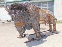 Unique metal creations are made at Mark Brechenridge's shop, Hac 'n Wac Metal Works in Bluevale. Above: This life-sized bison was commissioned by a farm-owning family with a passion for buffalo. (VALERIE GILLIES/LUCKNOW SENTINEL)