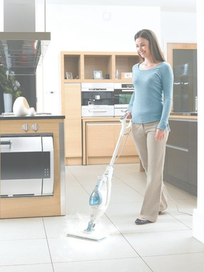 Steamers such as the Black + Decker SmartSelect Steam Mop are a great investment for thoroughly cleaning and sterilizing various hard flooring surfaces with only water
