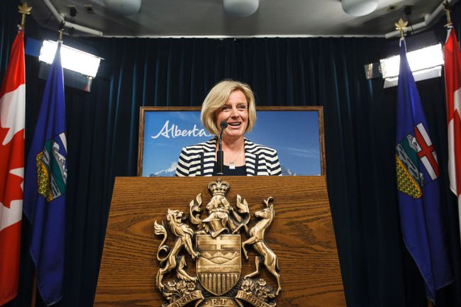 Premier-designate Rachel Notley speaks about the coming swearing-in ceremony and organizing Alberta's new NDP government during a news conference at the Alberta Legislature in Edmonton, Alta., on Wednesday May 20, 2015. Ian Kucerak/Edmonton Sun