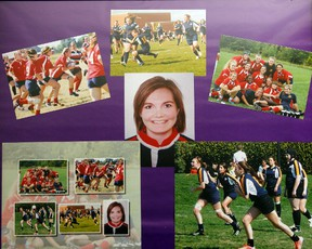 Pictures of Rowan Stringer playing rugby and with her teammates is photographed at her home Thursday, May 16, 2013. Ottawa Sun Files
