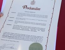 The official proclamation declaring May 20 Portage Terrier Day. The Portage Terriers held their RBC Cup victory parade on May 20 with Mayor Irvine Ferris declaring the date Portage Terrier Day in the city of Portage la Prairie. (Matt Hermiz/TheGraphic/Postmedia Network)