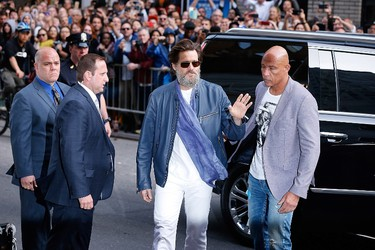 "Jim Carrey visits ""Late Show With David Letterman"" - May 20, 2015 at Ed Sullivan Theater on May 20, 2015 in New York City.   John Lamparski/Getty Images/AFP"