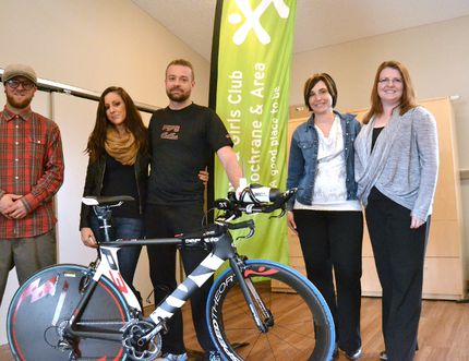 Last June, local athlete Wade Wondrasek competed in the Ironman Coer d'Alene, roughly an eight hour triathlon spanning about 225 km, and raised over $30,000 for the Cochrane Boys and Girls Club.Here at last April's launch are, from left, Christophe Larribeau, Alyssa Johnson, Wade Wondrasek, Sandra Reist, Jenny Strickland.