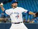 Blue Jays starter R.A. Dickey throws a pitch during first inning MLB action against the Angels in Toronto on Thursday, May 21, 2015. (Nick Turchiaro/USA TODAY Sports)