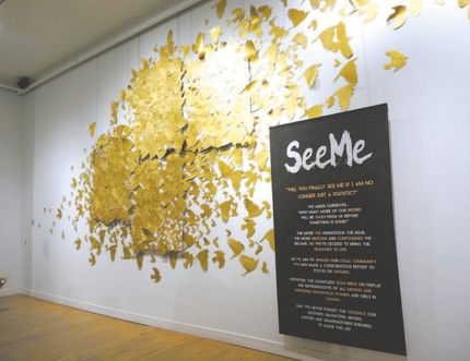 The hundreds of golden birds in this artwork, shown at the Arts Project as part of an exhibit called See Me, represent the missing and murdered aboriginal girls and women in Canada. The exhibit was created to draw attention to those girls. (photo by Glen Pearson)
