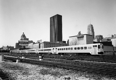 It was a much different skyline that passengers saw out the coach windows when the first GO Trains began operating 48 years ago. In the view is the Royal York Hotel, the first building of the new Toronto-Dominion Centre and the stately Bank of Commerce Building. Note also the O'Keefe Centre that has since been renamed the Hummingbird Centre and now the Sony Centre.