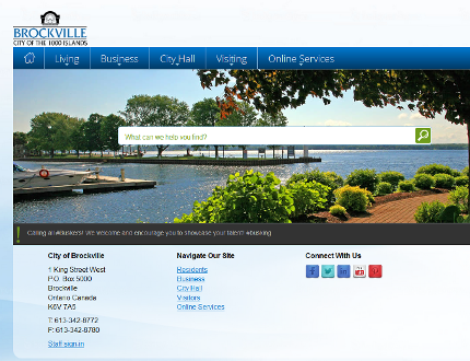 The City of Brockville launched its new website Tuesday afternoon, and one of the newest features is a new, more accurate search feature. (Screen Capture)