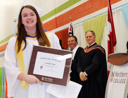 Cassandra Irvine was class valedictorian at Northern College, told her fellow graduates on Friday to never stop learning and to achieve excellence. More than 200 students gradu
