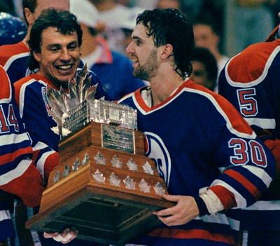 May 24, 1990. Edmonton Oiler goalie Bill Ranford smiles along with teammate Petr Klima as Ranford collected the Conn Smythe Trophy (playoff's MVP) after the Oilers won their fifth Stanley Cup championship. The Oilers won their fifth Stanley Cup on May 24, 1990 by beating the Boston Bruins in five games. Of note, on March 8, 1988 , Ranford and Geoff Courtnall were traded from Boston to the Oilers in exchange for Andy Moog. Tom Braid/Edmonton Sun/QMI Agency