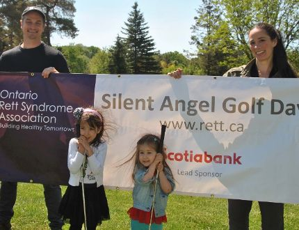 Stratford Festival actors Jonathan Goad (Hamlet) and Adrienne Gould (Ophelia) shown here with daughters Aviva, 5, and Nina, 3, will participate in the Silent Angel Golf Tournament for Rett Syndrome on June 14.