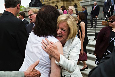 Premier Rachel Notley greets supporters during the swearing-in ceremony for the NDP government cabinet at the Alberta Legislature Building in Edmonton, Alta. on Sunday, May 24, 2015. Codie McLachlan/Edmonton Sun/Postmedia Network